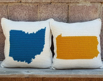 State Pride Pillow / State Love Pillow / Home State Pillow / Hometown / Long Distance Pillow / Crochet Throw Pillow / Home Decor / Customize