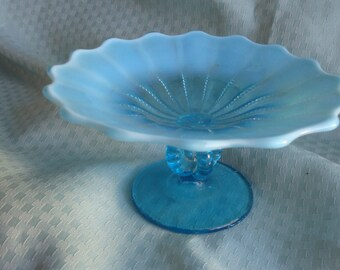 1900's Opaque Blue Glass Compote