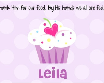 Personalized Cupcake Placemat - Kids Placemat - Childs Laminated Placemat - First Birthday Gift - Godchild Gift - Purple Cupcake Girl