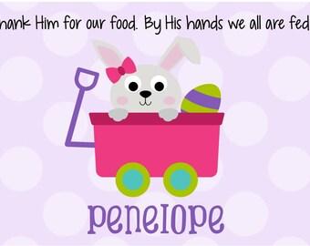 Godchild easter gift etsy personalized placemat kids placemat childrens placemat easter placemat bunny placemat easter negle Choice Image