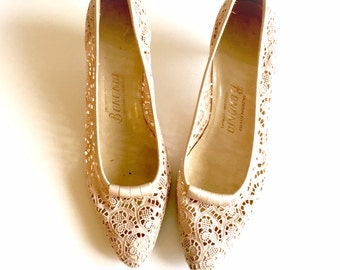 Vintage 1960s/60s lace heels/pumps/shoes High heel shoes white weddiing bridal EU size 38,5-39 US  8-8,5