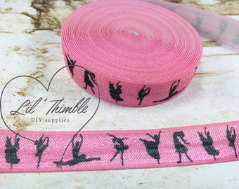 5 yards Pink silhouette dancers 5/8 inch fold over elastic black birthday party favor goodie bag easter recital gift ballet sandal diy sew