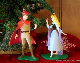 Sleeping Beauty ornament set Aurora as Briar Rose and Prince Philip