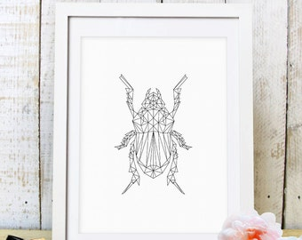 30% OFF SALE  Geometric Beetle Bug Print,Bug Print, Bug Art, Geometric Bug, Wall Decor,  Nursery Decor, Entomology, Instant Download