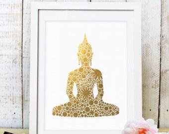 30% OFF SALE Gold Floral Buddha/Gold Buddha print/Gold Buddha Statue Print/Floral Budha Art/Printable Art/ Gold Buddhist Printable/ Artprint