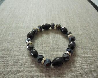 Black and Silver Glass Crystal Stretch Bracelet