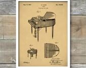 Patent Print, Piano Poster, Baby Grand Piano, Piano Art Print, Piano Patent Print, Music Poster, Music Art Print, Music Poster, P291