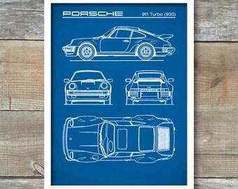Porsche 911 Turbo (930) Blueprint, Patent Print, Porsche 911 Poster, Porsche 911 Art, Porsche 911 Decor, P264
