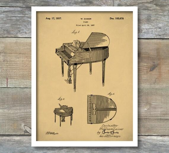 patent print piano poster baby grand piano piano art print