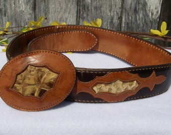 Vintage Belt Justin Two Tone Leather Belt With Snakeskin Buckle and Inserts Size 28 Justin Western Belt