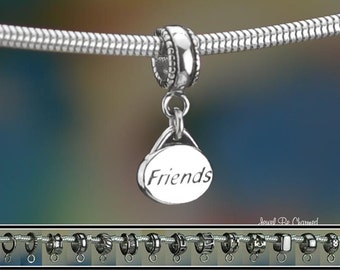 Sterling Silver Friends Charm or European Style Charm Bracelet .925