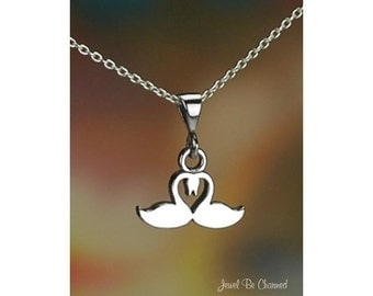 """Sterling Silver Heart Swan Necklace with 16-24"""" Chain or Pendant Only"""