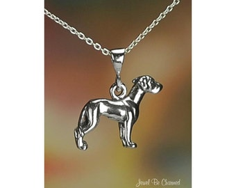 """Sterling Silver Great Dane Necklace with 16-24"""" Chain or Pendant Only"""