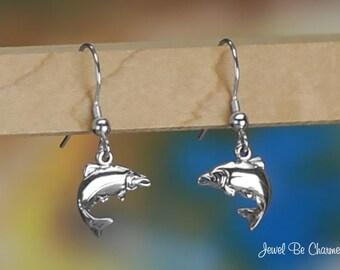 Sterling Silver Salmon Earrings Pierced Fishhook Earwires Solid .925
