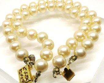 Pearl Bracelet -  Vintage, Les Bernard Signed, Gold Tone, White Faux Pearls, Dual Strands