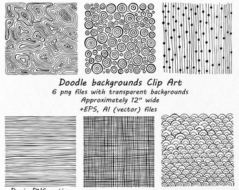 Doodle backgrounds Clip Art, PNG, EPS, AI, vector files, Hand drawn, Scrapbooking, Digital Wallpaper, For Personal and Commercial use