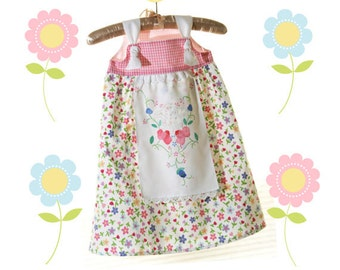Boutique Girls Apron Knot Dress, Tea Party Dress, Prairie Girl Dress, Birthday or Spring, sizes 3mos-10T