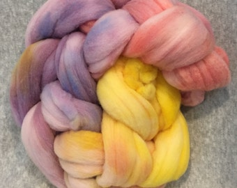 Hand Dyed Merino Wool Braid - Sunset