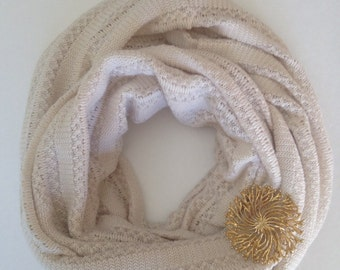 Ivory knitted fabric infinity scarf, knitted lace fabric infinity scarf, ivory infinity scarf, infinity scarf