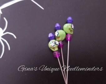 Green Sugar Skull Counting Pin, lapel pin, marking pin