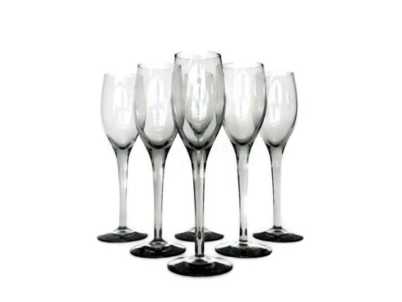 Smokey Glass Cordial Set, Six Stemmed Glasses, Champagne Flutes, Mid Century Barware