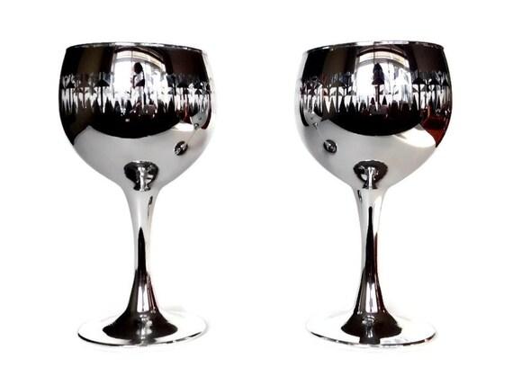 Retro Wine Glasses, Silver, Mercury Glass, Deco Pattern, Mid Century Bar Glasses