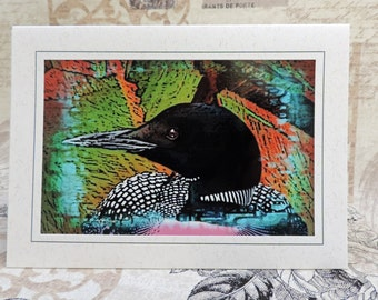 Loon Photo Art Greeting Card, Loon Note Card, Loon Art Card