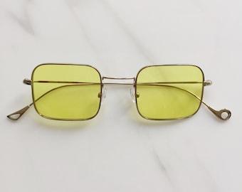 Vintage 70s Style Square Sunglasses, Yellow Silver Retro Square Sunglasses, Eyepetizer Eyewear CONTA, Vintage Style Eyewear