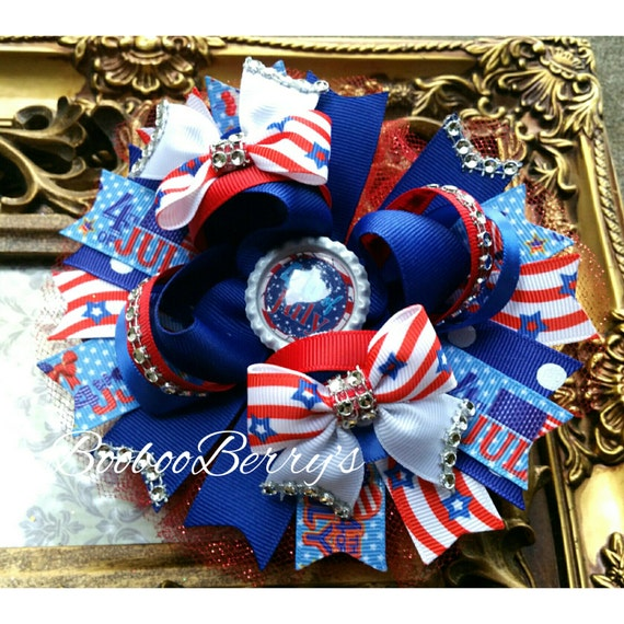 Fourth of July hair bow, large stacked ott hair bow, patriotic bow, red white and blue, boobooberrys custom bow