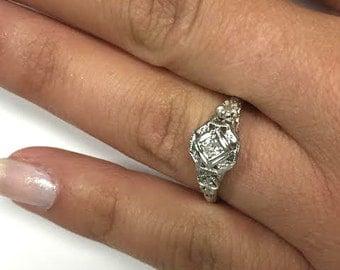 Antique Filigree wedding Ring - size 7 1/2