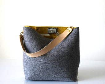 Bucket Bag, Hobo Tote Bag, Crossbody Bag, Gray Bag, Handbag, Purse, Casual Bag, Simple, Bag, Shoulder Bag, Day Bag, Tote