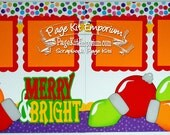 Scrapbook Page Kit Christmas Merry & Bright Ornaments Lights Boy Girl 2 page Scrapbook Layout Kit 55