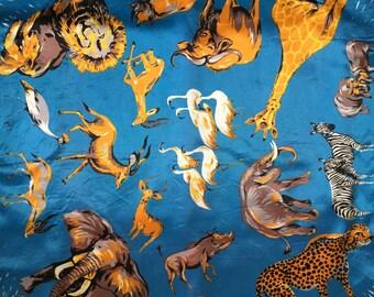 vintage animal scarf // 60s African safari animal print scarf
