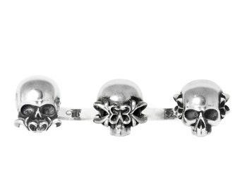 NO EVIL - Double Finger Ring. Sterling Silver Fashion Jewelry. Fine Jewelry. Cross Relic Skulls Gothic