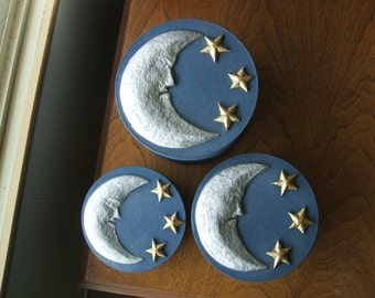 Silver Moon and Golden Stars blue paper mache set stacking boxes