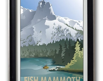 Fish Mammoth Vintage-Style Print, Mammoth Lakes, Mountain Lake Decor, Travel Print, Fishing Poster Print