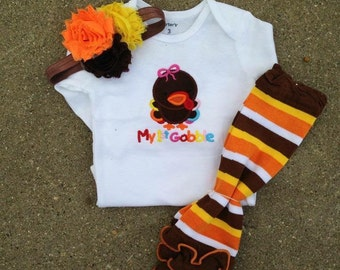 First thanksgiving outfit - thanksgiving leg warmers with ruffle - personalized thanksgiving outfit - baby's 1st thanksgiving outfit