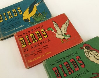 """1941 complete set of """"The  Green book of birds of America """"  The red book of birds of America""""  The bluebook of birds of America"""""""