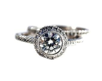Top Unique Halo Engagement Ring - Bazel Set