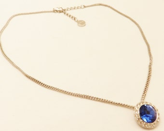 Silver Tone Blue Stone Givenchy Necklace