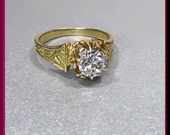 Antique Vintage 14K Yellow Gold Victorian Old European Cut Diamond Engagement Ring Wedding Ring - ER 433M