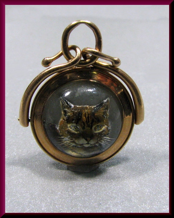 Antique Vintage Victorian 14k Pink Gold Cat And Agate Charm