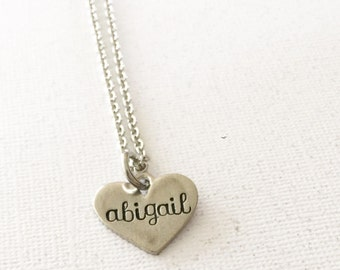 Name necklace - Heart necklace - Hand stamped necklace - Gift for girl - Custom gift - Necklace for a child - Personalized  necklace