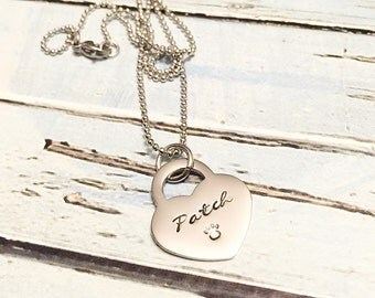 Pet loss - Hand stamped necklace - Pet memorial jewelry - dog or cat loss - Unique jewelry - Personal hand stamped necklace - Custom gift