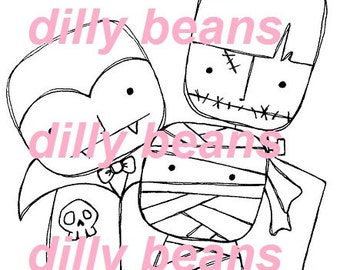 Monsters Digi stamps #483 Dilly Beans by Megan