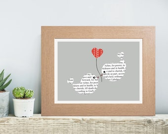 framed personalised wedding vows typography print personalised with either your own wording or as in the image and date unique wedding gift
