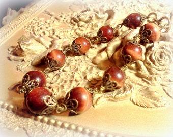 Tiger's Eye Bracelet, Gemstone Bracelet, Genuine Stone Bracelet, Handmade Bracelet, Mahogany Tigerseye, Beaded Link Bracelet, Bead Bracelet