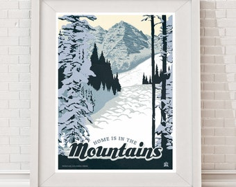 Home Is In The Mountains Poster - NEW!