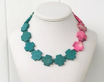 Bevay - Hot Pink Turquoise Aqua Blue Turquoise Howlite Cross Gemstone Beaded Necklace - 25mm Color Block