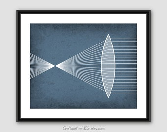 Science as Art Print - Refraction Through a Convex Lens - Available as 8x10, 11x14 or 16x20